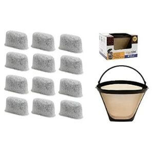 GoldTone 8-12 Cup Coffee Filter & 12 set Charcoal Water Filters for Cuisinart Coffee Maker and Brewers