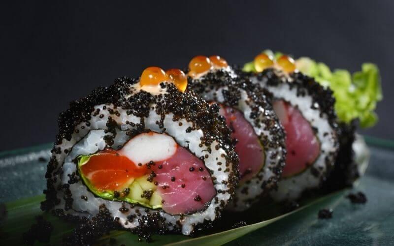 black tobiko sushi